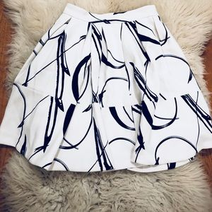 Banana Republic Wool Black and White Skirt